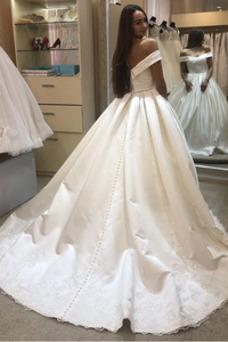 Vestido de novia Satén Triángulo Invertido Formal Natural Botón Otoño
