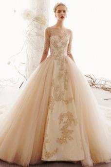 Vestido de novia Encaje Recatada Fuera de casa Formal Cola Real Corte-A