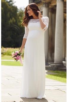 Vestido de novia Imperio Imperio Cintura Sencillo Playa Cremallera Encaje
