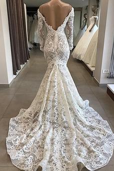 Vestido de novia Fuera de casa Cremallera Capa de encaje Cola Capilla