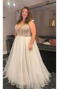 Vestido de novia Elegante Verano Cremallera Organza Rectángulo Natural