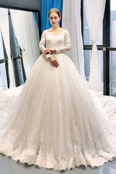 Vestido de novia Manga larga Triángulo Invertido Encaje Corte-A Sala