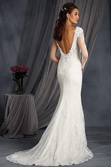 Vestido de novia Clasicos primavera Encaje Apliques Natural Corte Sirena