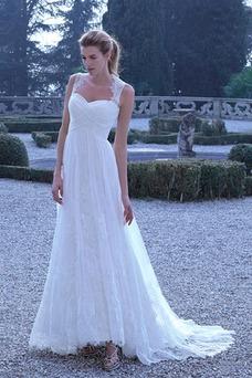 Vestido de novia Verano Escote Corazón Espalda medio descubierto Corte-A