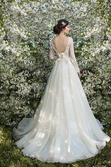 Vestido de novia Barco primavera Mangas Illusion largo Sala Encaje