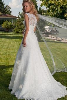 Vestido de novia Corte Sirena Cola Capilla Natural Lazos Encaje Con Chaqueta