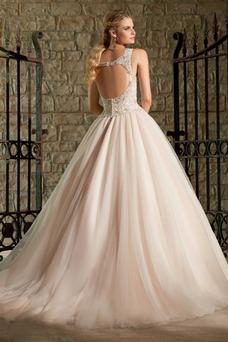 Vestido de novia Iglesia primavera Espalda medio descubierto Cristal