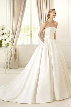 Vestido de novia Clasicos Sin tirantes largo Otoño Con velo Sala