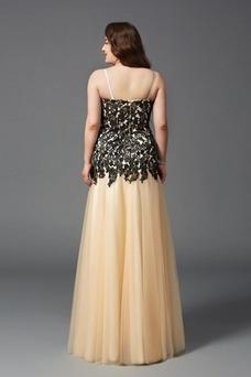 Vestido de noche Tallas grandes Encaje Cremallera Natural Elegante Escote de Tirantes Espaguetis
