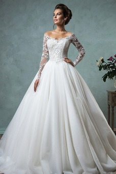 Vestido de novia Manga larga Encaje Corte-A Natural Piel largo