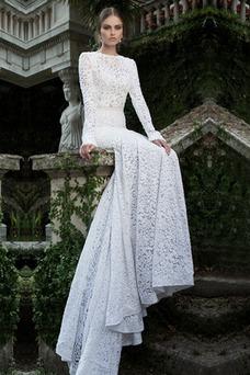 Vestido de novia Encaje Encaje Corte Sirena Cremallera Otoño Natural
