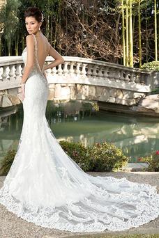 Vestido de novia Playa Apliques Natural tul Colores Cola Catedral