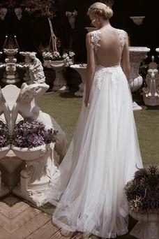 Vestido de novia Escote en V Sin mangas Verano Cola Barriba tul Pura espalda