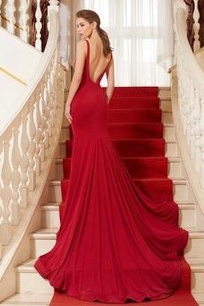 Vestido de noche Elegante Corte-A Cola Corte Natural Escote con Hombros caídos