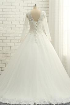 Vestido de novia Cordón Natural Encaje Manga larga Hasta el suelo Verano