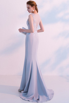 Vestido de noche Satén Corte Sirena Natural Sin mangas Otoño Encaje