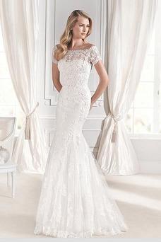 Vestido de novia Corte Sirena Encaje largo Falta Otoño Manga corta