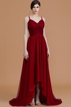 Vestido de dama de honor Romántico Blusa plisada Hasta el suelo Escote en V
