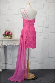Vestido de cóctel Blusa plisada Asimètrico Elegante Un sólo hombro Sin mangas