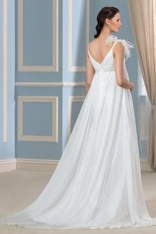 Vestido de novia Playa Cremallera Otoño Elegante Pluma Imperio Cintura