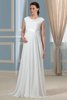 Vestido de novia Imperio Fuera de casa Cola Barriba Gasa Manga corta