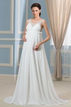 Vestido de novia Imperio primavera Escote en V Gasa Espalda Descubierta