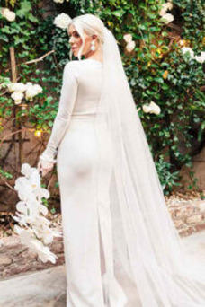 Vestido de novia Embarazadas Manga larga Escote en V Botón Hasta el suelo
