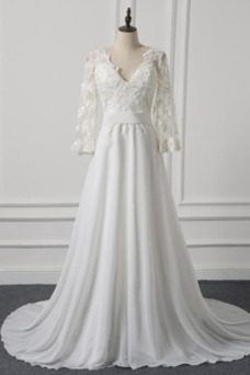 Vestido de novia Encaje Capa de encaje Encaje Formal Escote en V Sala