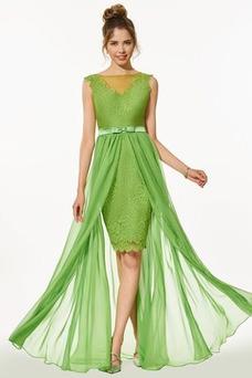 Vestido de fiesta Encaje Verano Elegante Capa de encaje Natural Sin mangas