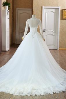 Vestido de novia Invierno Natural Encaje Cordón Cola Catedral Joya
