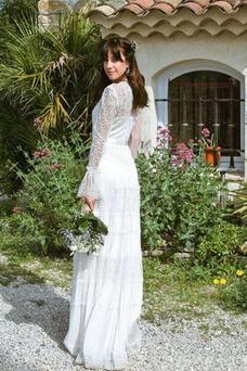Vestido de novia Manga larga Otoño Cremallera Natural Encaje Transparente