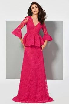 Vestido de noche Natural Escote en V Corte-A Formal Cola Barriba Pura espalda