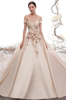 Vestido de novia Manga corta Escote con Hombros caídos Cola Catedral