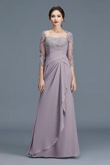 Vestido de madrina Corte-A Manga de longitud 3/4 Plisado Blusa plisada
