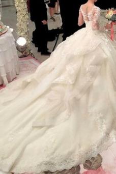 Vestido de novia Otoño Cola Corte Capa de encaje Corte-A Natural Mangas Illusion