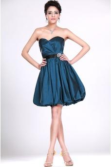 Vestido de dama de honor Corte-A primavera Natural Océano azul Moderno Burbuja dobladillo