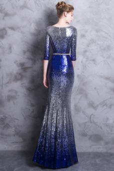 Vestido de noche Corte Sirena Hasta el Tobillo Escote redondo Estrellado