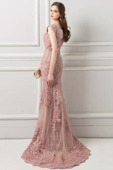 Vestido de noche Escote en V Corte Recto Capa de encaje Espectaculares