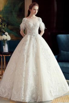 Vestido de novia Cordón Corte-A Hasta el suelo Sala Corpiño Acentuado con Perla