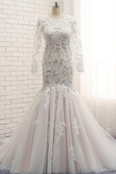 Vestido de novia Corte Sirena Otoño Moderno Natural Pura espalda Encaje