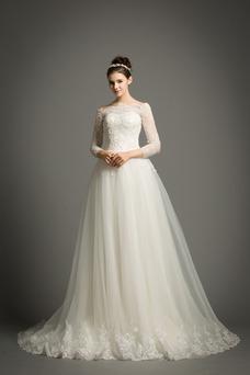 Vestido de novia Elegante Encaje Abalorio Pera Cremallera Corte-A