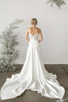 Vestido de novia Apliques Cola Catedral Otoño Sin mangas Natural Encaje