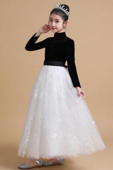 Vestido niña ceremonia Capa de encaje Corte-A Hasta el Tobillo Natural Elegante