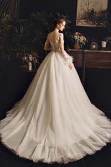 Vestido de novia Capa de encaje Sala largo Encaje Natural Apliques