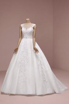 Vestido de novia Elegante Corte-A Capa de encaje Barco Otoño Natural