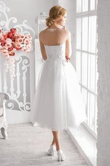 Vestido de novia Joya Manga tapada Cordón tul Hasta la Tibia Corte-A