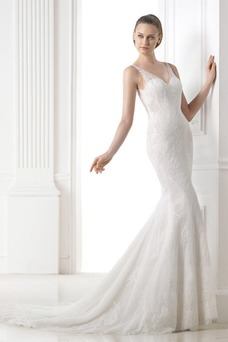 Vestido de novia Escote en V Fuera de casa Otoño Natural Corte Sirena ... e437a4df22b5