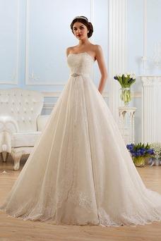 Vestido de novia Cordón Cola Capilla Sin tirantes Sala Natural Encaje