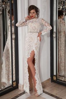 Vestido de novia Manga larga Encaje Natural largo Cristal Cremallera
