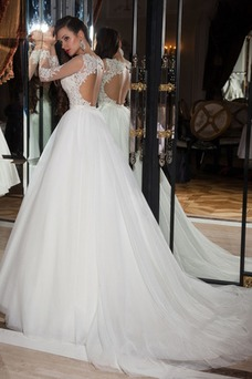 Vestido de novia largo Espalda medio descubierto Manga larga Natural